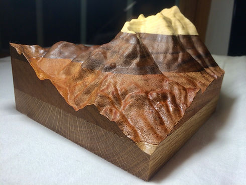 4-layer wood carved art model of Worth Mountain at the Snow Bowl in Hancock, Vermont