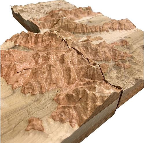 "Adirondacks High Peaks Region, layered 12"" x 20"""
