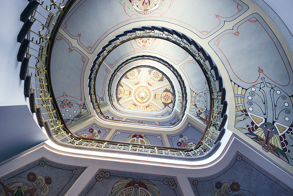 An Art Nouveau stairwell in the city