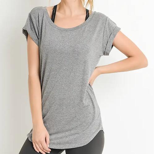Grey Round Neck Cap Sleeve Shirt