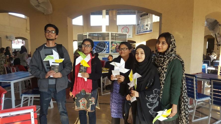 Campus ambassadors engaging students at NUST.