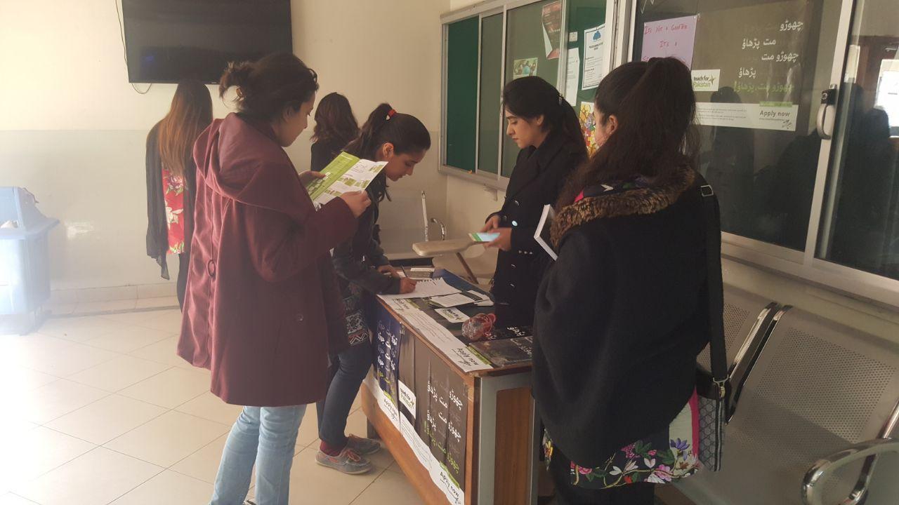 Campus Ambassadors engaging with students at Bahria University.