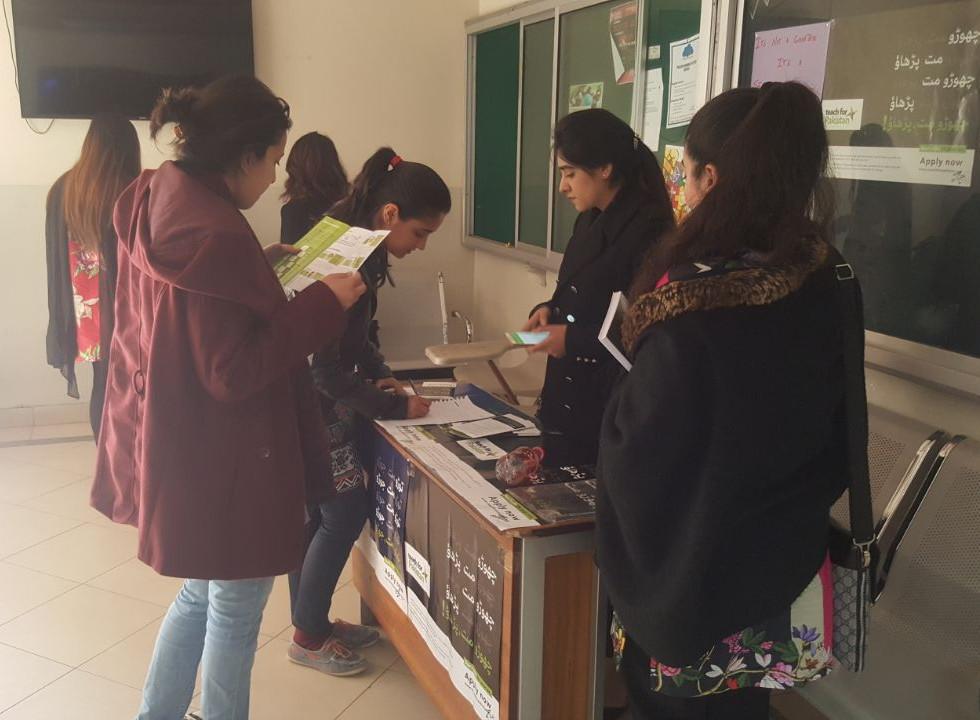 Campus Ambassadors engaging with students at Bahria university
