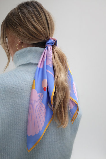 'SEA SHELLS - BLUE AND PINK' Silk Scarf