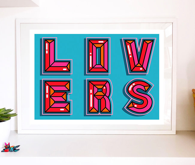 Large 'LOVERS' giclee print