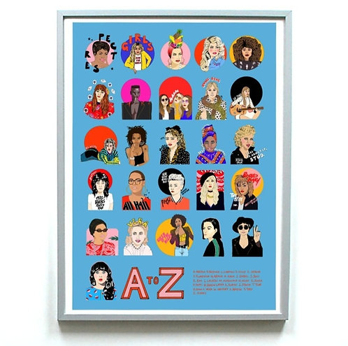 'A to Z: Female Icons in Music' print