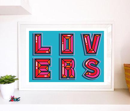 Large 'LOVERS' print