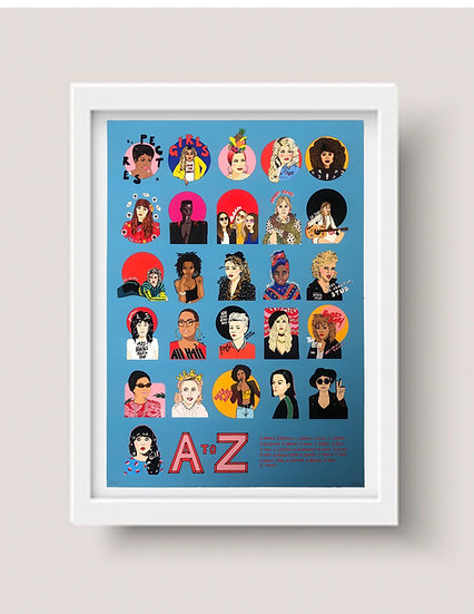 'A to Z: Female Icons in Music' giclee print