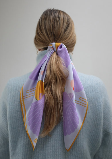 'SEA SHELLS - BABY BLUE AND LILAC' Silk Scarf