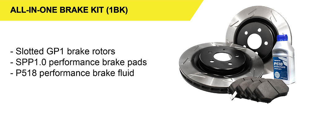 Our All-in-One Brake Kit (1BK) performance brake upgrade package consists of our GP1 one-piece brake rotors paired with SPP1.0 brake pads and high-performance brake fluid.