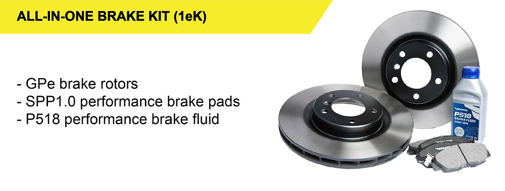 Our All-in-One Brake Kit (1eK) consists of our GPe one-piece brake rotors, SPP1.0 performance brake pads, and P518 high performance brake fluid.