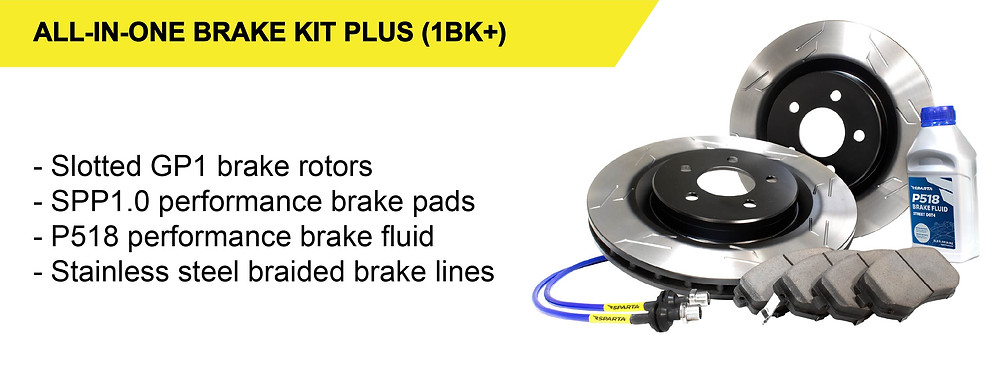 Our All-in-One Brake Kit Plus (1BK+) performance brake upgrade package consists of our GP1 one-piece brake rotors, SPP1.0 performance brake pads, stainless steel braided brake lines, and P518 high performance brake fluid.