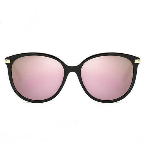 Polarized Oversized Plastic Frame Pink Purple Mirrored Front View
