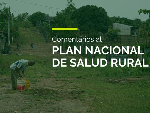 Comentarios al Plan Nacional de Salud Rural