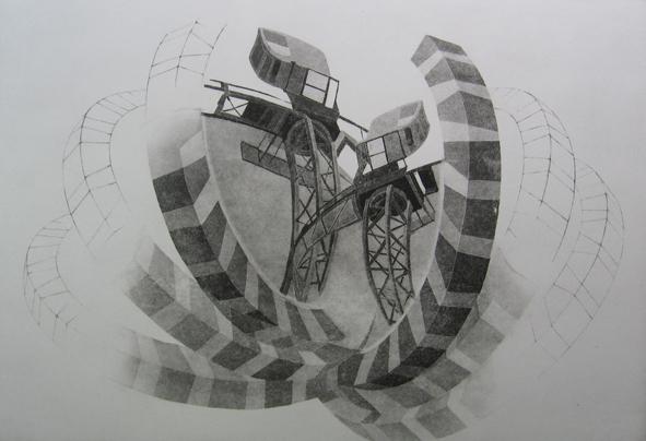 cranes in mirror etching