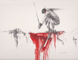 Freestyle skiing sketch drawing