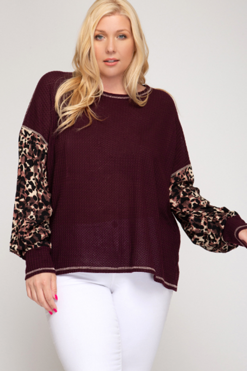 Leopard Contrast Thermal Top