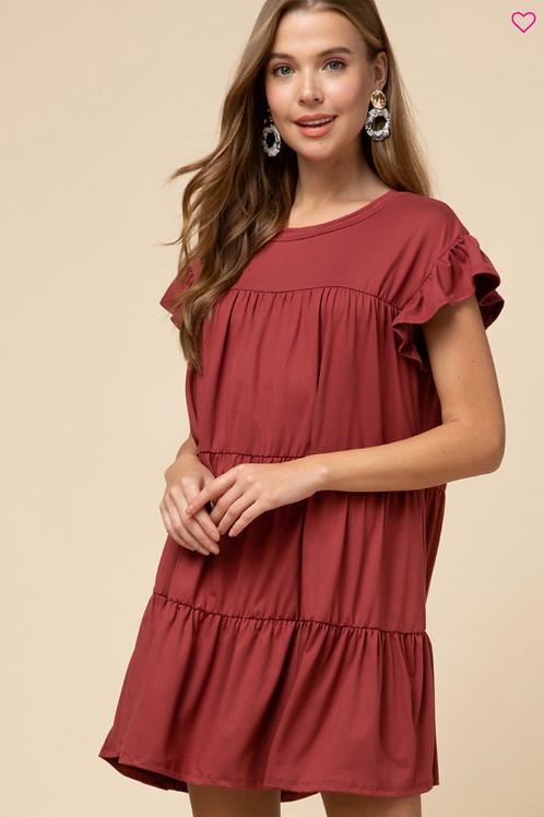 Wine Ruffle Dress