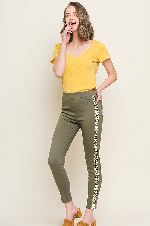Olive Animal Print Striped Pants