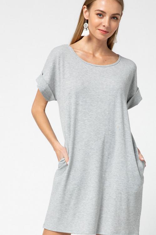 Grey Ribbed Dress