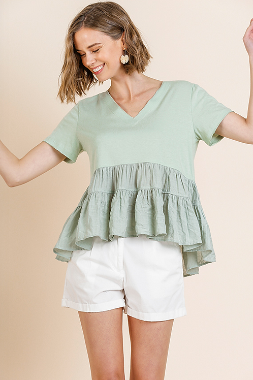 Mint Ruffle Top