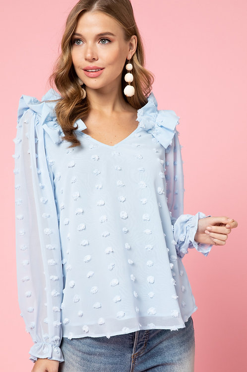 Blue Dotted Swiss Top