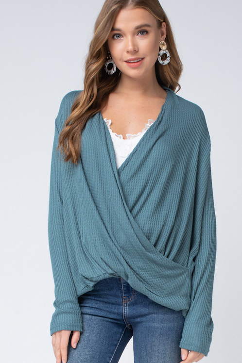 Teal Waffle Knit Top