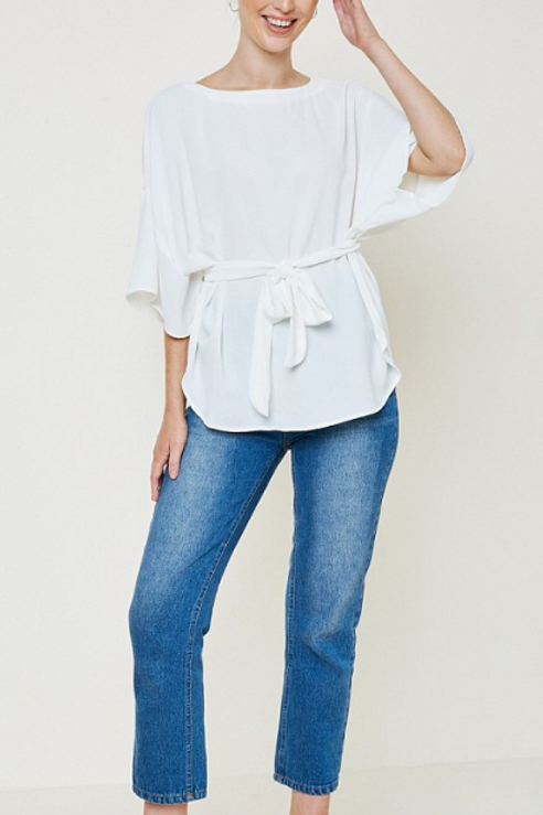 White Front-Tie Blouse