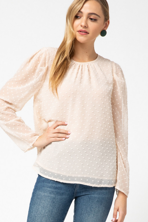Beige Dotted-Swiss Top
