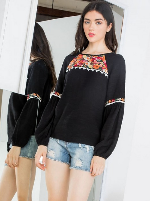 Raglan Embroidered Top