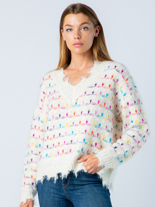 Colorful Distressed Sweater