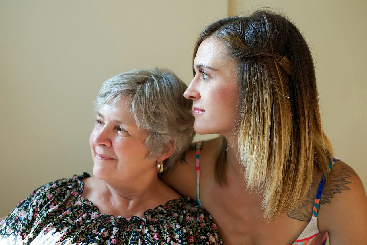 Daughter with senior mom