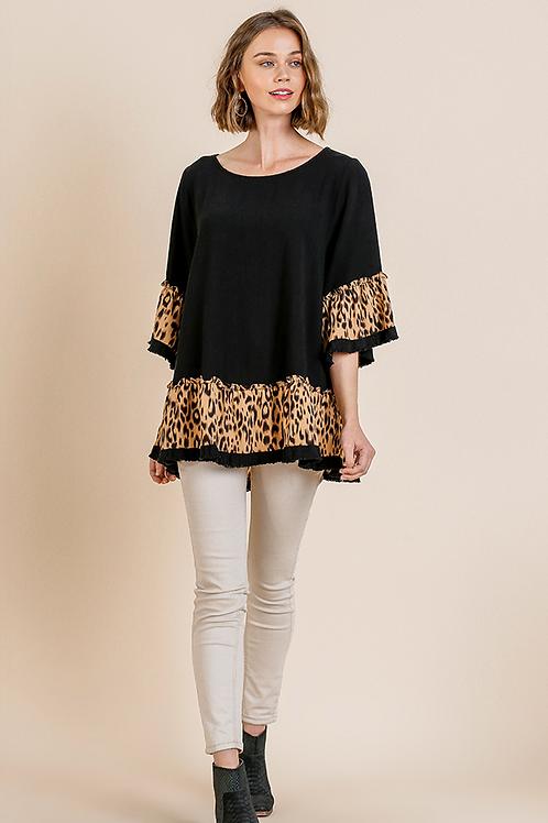 Leopard Bell Sleeve Top