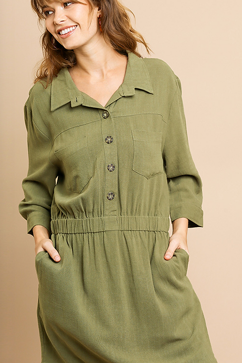 Casually Olive Linen Dress