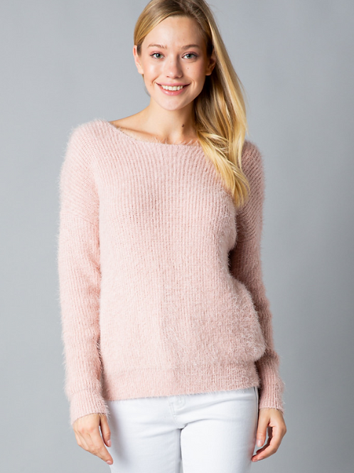 Pink Twist-Back Sweater