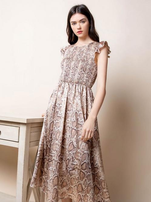 Smocked Snakeskin Dress
