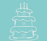 Whole 'Lot Sweeter Logo, Illustration of a Cake with three hearts
