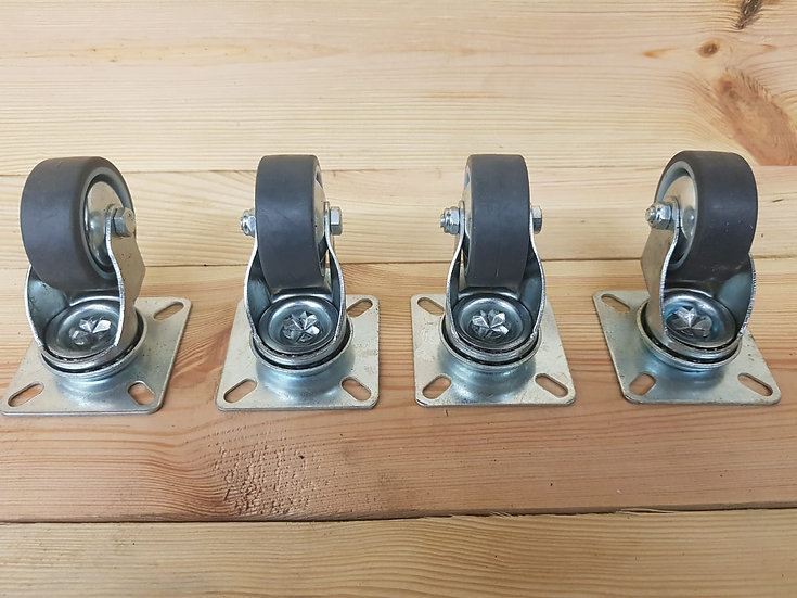 4er Set Möbelrollen | Tischrollen | Gummirollen