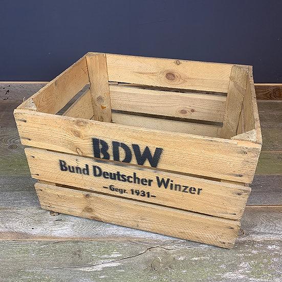 """Vintage Holzkiste """"Bund Deutscher Winzer"""" 50x40x30cm"""