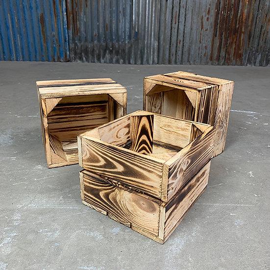 3er Set Kleine Geflammte Holzkiste | 22x20x16cm