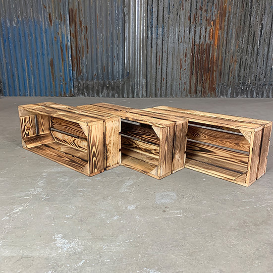 3er Set Geflammte Holzkiste | 50x20x16cm