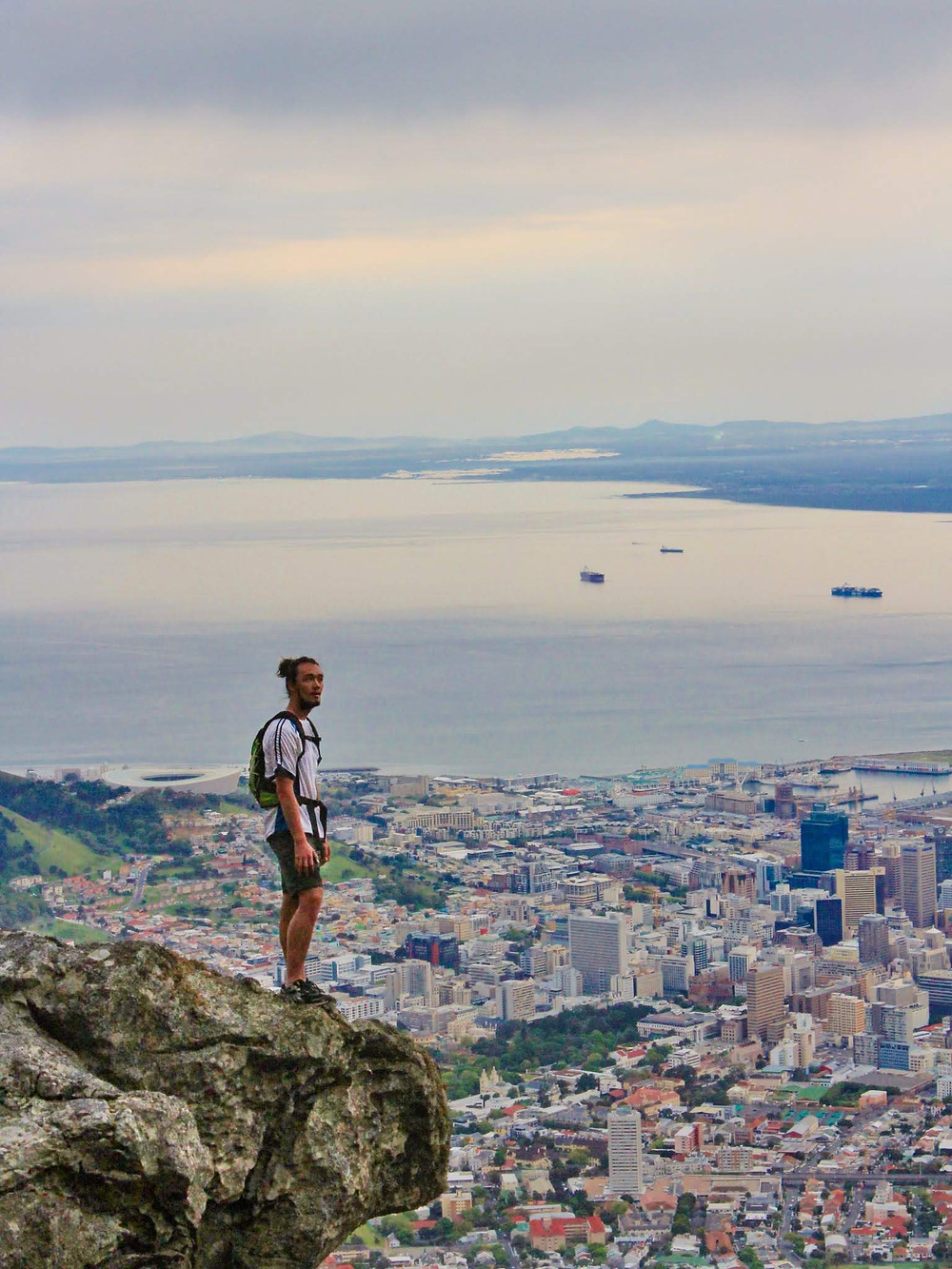 View over Cape Town from the front of Table Mountain.
