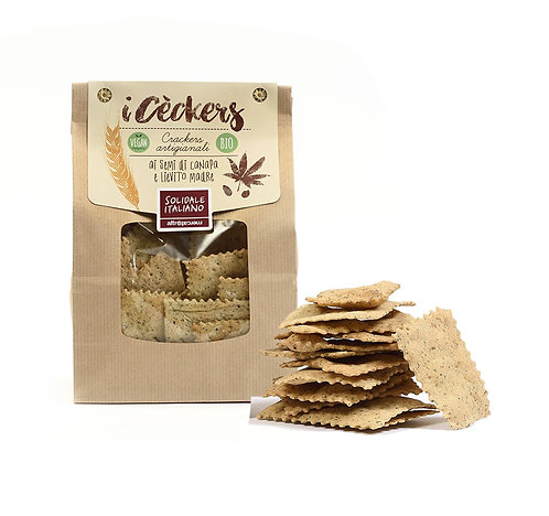Handcrafted crackers with hemp seeds - 200g