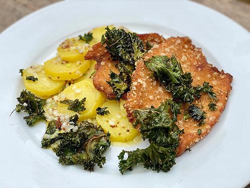 Organic Turkey Cotoletta with Potato Salad & Kale Chips - Serves 1