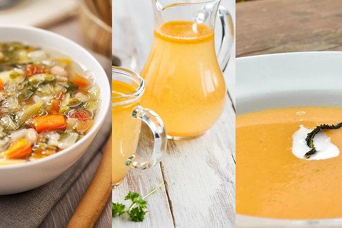 Bundle of 3 organic soups (Broccoli, Minestrone & Broth) x 1l each
