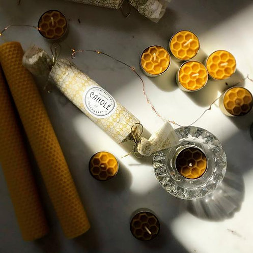 Beeswax candle candies (x 6 tealight candles c. 4-5hrs)