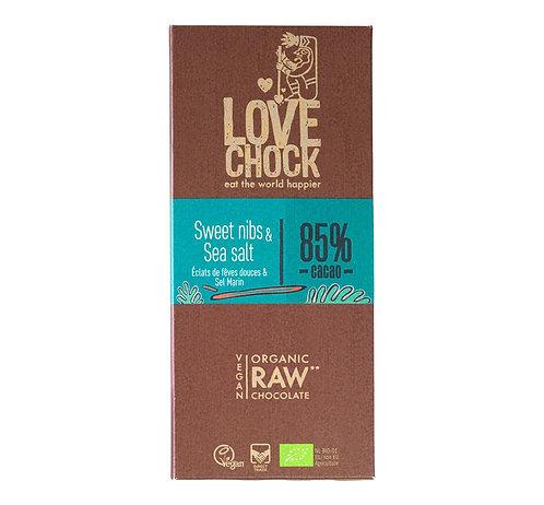 Lovechock Raw Choc - Sweet nibs & sea salt 85% - 70g