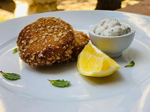 Baked Wild Fish Cakes with Tartar Sauce (side) x 2pcs