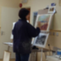 Lindsey enthralled all at the demonstration of Landscapes with Acrylic texture.