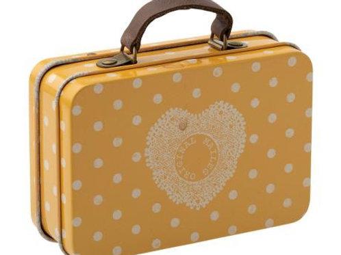 Metal suitcase yellow dot